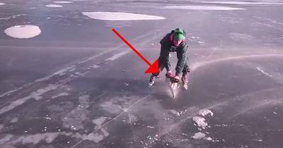 Irre! Schwede nimmt Kettensäge zum Schlittschuhlaufen!