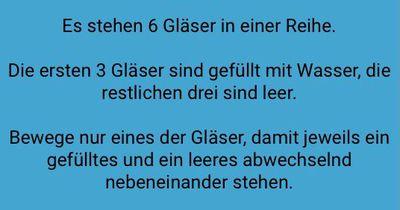 6 Gläser in einer Reihe